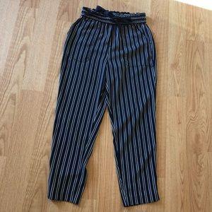 Zara striped pants size XS navy blue slip on